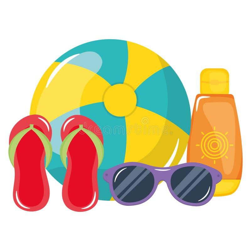 Μπαλόνι παραλιών με τα σανδάλια και ηλιακό blocker διανυσματική απεικόνιση