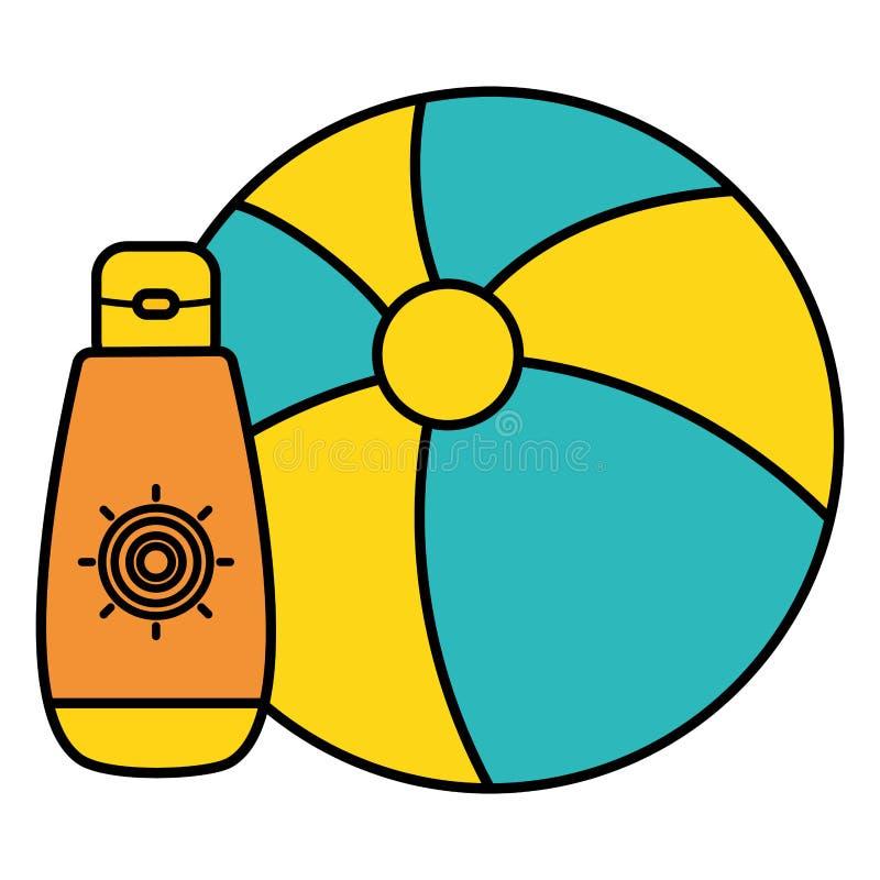 Μπαλόνι παραλιών με το ηλιακό blocker εικονίδιο διανυσματική απεικόνιση