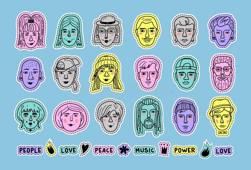 Μπαλώματα ειδώλων ανθρώπων doodle, σύνολο ζωηρόχρωμων ανθρώπων αυτοκόλλητων ετικεττών, αστεία πρόσωπα των ανδρών και των γυναικών απεικόνιση αποθεμάτων