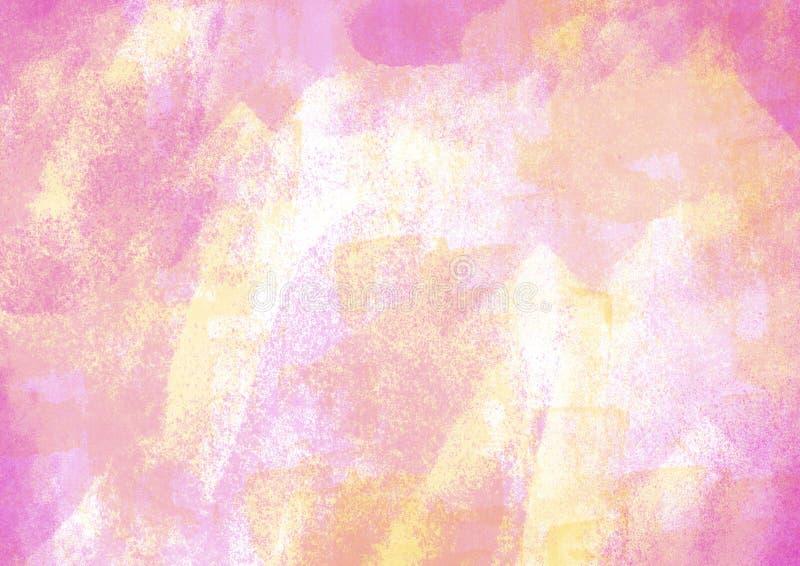 Μπαλώματα και ρόδινα μπαλώματα κτυπημάτων βουρτσών χρώματος υδατοχρώματος γραφικά ελεύθερη απεικόνιση δικαιώματος