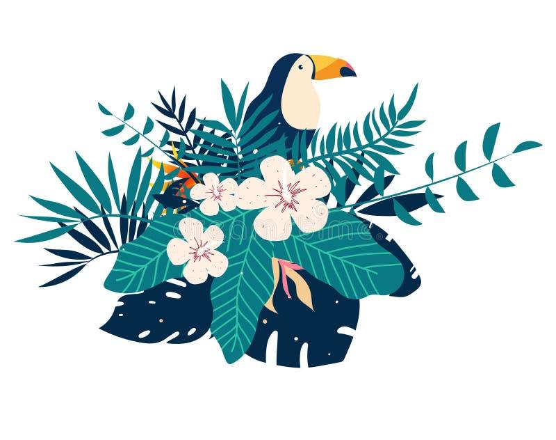 Μπαλώματα κεντητικής Toucan με τα τροπικά λουλούδια και τα φύλλα απεικόνιση αποθεμάτων