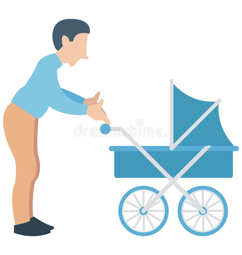 Μπαμπάς, περιπατητής, πατέρας με το νήπιο που μπορεί να εκδοθεί εύκολα σε οποιοδήποτε μέγεθος ή να τροποποιηθεί ελεύθερη απεικόνιση δικαιώματος