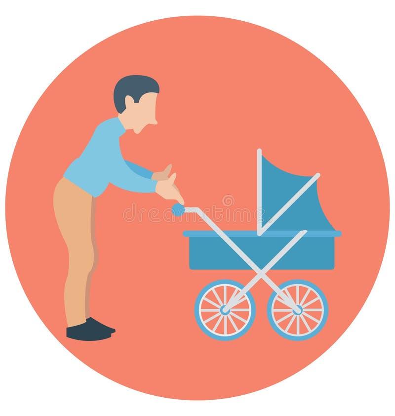 Μπαμπάς, περιπατητής, πατέρας με το νήπιο που μπορεί να εκδοθεί εύκολα σε οποιοδήποτε μέγεθος ή να τροποποιηθεί απεικόνιση αποθεμάτων