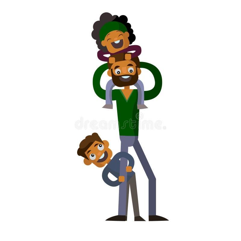 Μπαμπάς που κρατά το γιο και την κόρη του στο απομονωμένο άσπρο υπόβαθρο στοκ φωτογραφίες με δικαίωμα ελεύθερης χρήσης