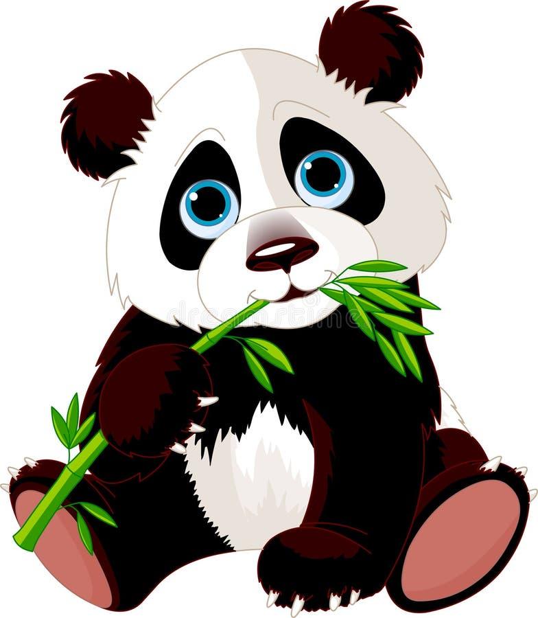μπαμπού που τρώει το panda διανυσματική απεικόνιση