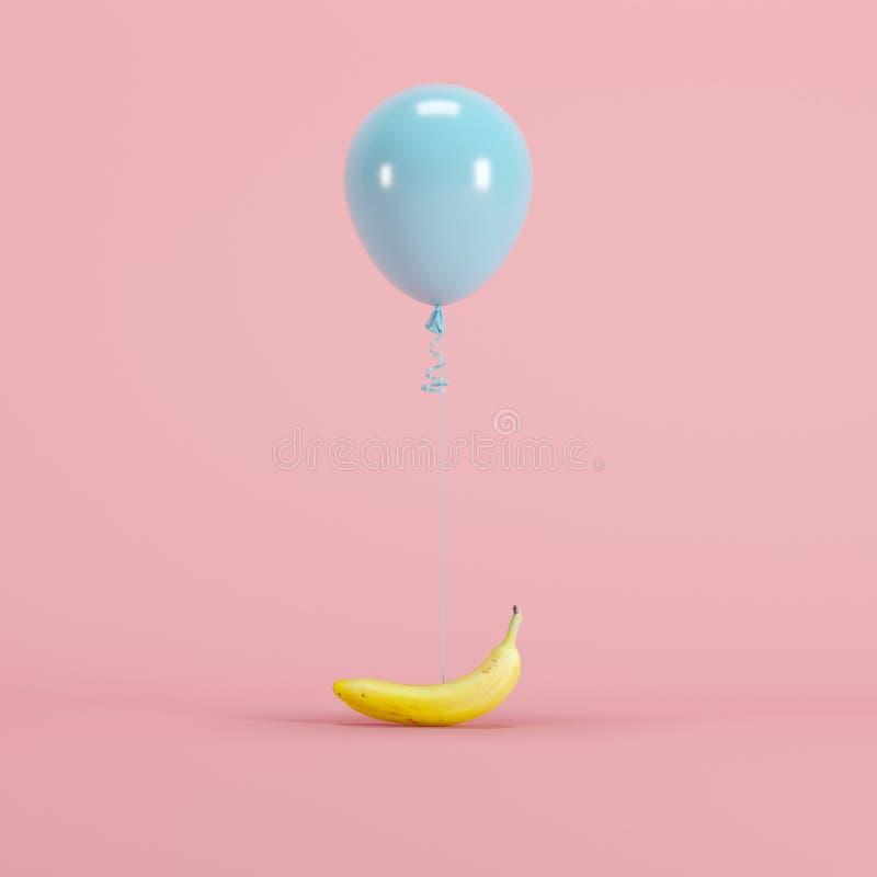 Μπανάνα που συνδέεται με το μπλε μπαλόνι κρητιδογραφιών στο ρόδινο υπόβαθρο κρητιδογραφιών στοκ φωτογραφίες