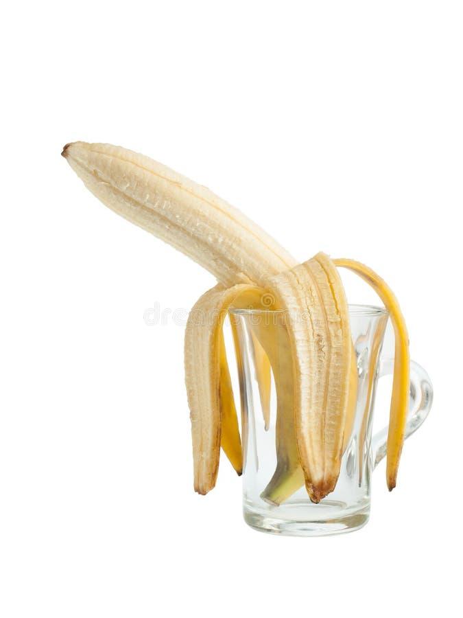 Μπανάνα σε ένα γυαλί στοκ φωτογραφία