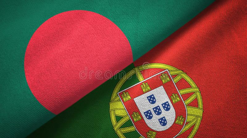 Μπανγκλαντές και Πορτογαλία δύο υφαντικό ύφασμα σημαιών, σύσταση υφάσματος ελεύθερη απεικόνιση δικαιώματος