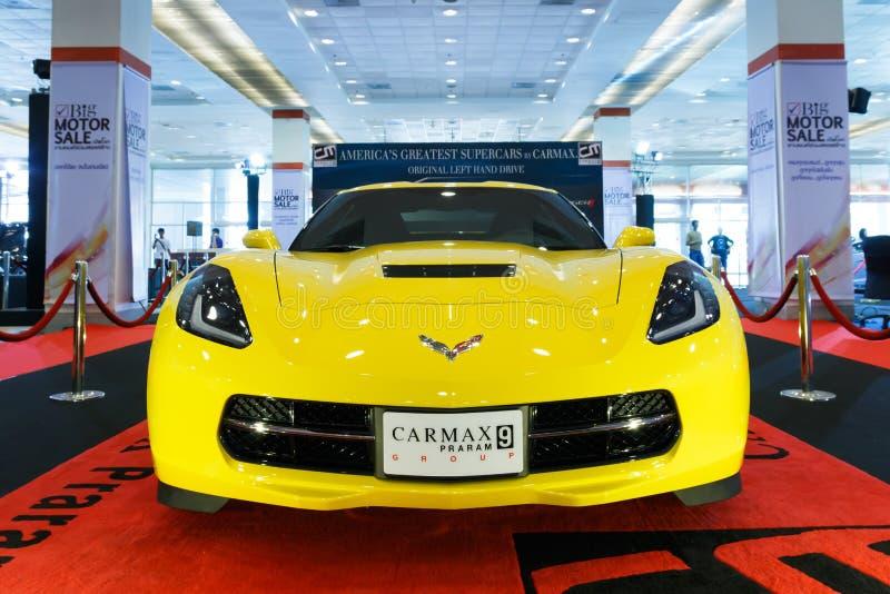 ΜΠΑΝΓΚΟΚ ΤΑΪΛΑΝΔΗ - 23 ΑΥΓΟΎΣΤΟΥ 2014: Δρόμωνας Z06 2015 Chevrolet στη μεγάλη πώληση μηχανών, Bitec Bangna, Μπανγκόκ Ταϊλάνδη στοκ εικόνα
