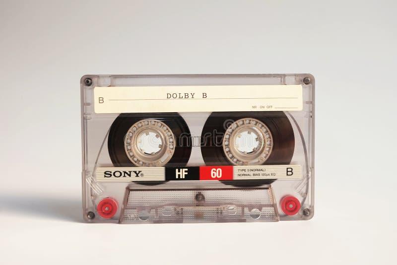 ΜΠΑΝΓΚΟΚ, ΤΑΪΛΑΝΔΗ - 26 Σεπτεμβρίου 2018 κενή αναλογική ακουστική ταινία κασετών της Sony HF60 σε ένα λευκό στοκ εικόνες με δικαίωμα ελεύθερης χρήσης