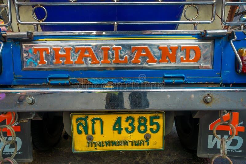 ΜΠΑΝΓΚΟΚ, ΤΑΪΛΑΝΔΗ, ΣΤΙΣ 8 ΦΕΒΡΟΥΑΡΊΟΥ 2018: Κλείστε επάνω του τρίτροχου ταξί tuk tuk σε έναν δρόμο στην περιοχή Khao SAN, tuk tu στοκ εικόνες