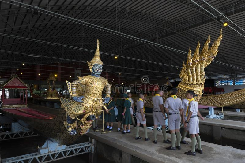 Μπανγκόκ, Ταϊλάνδη - 12 Αυγούστου 2017: Ταϊλανδικές βασιλικές φορτηγίδες στο Εθνικό Μουσείο των βασιλικών φορτηγίδων, Μπανγκόκ, Τ στοκ φωτογραφίες με δικαίωμα ελεύθερης χρήσης