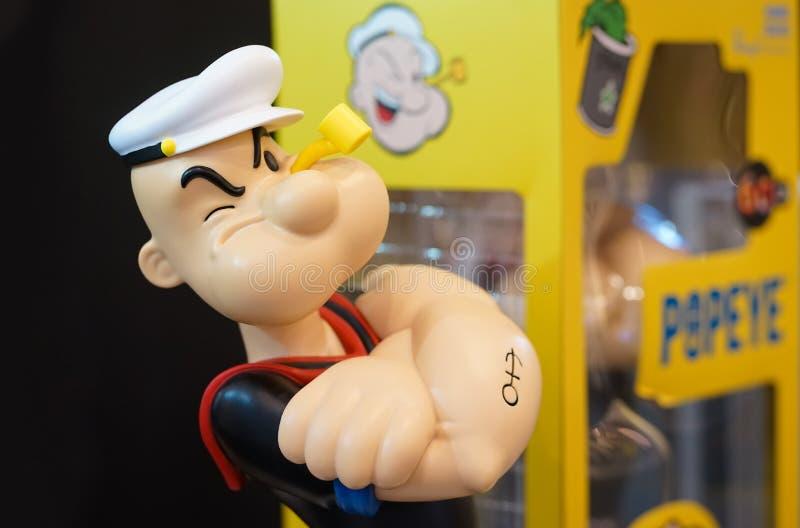 Μπανγκόκ, Ταϊλάνδη - 4 Μαΐου 2019: Μια φωτογραφία Popeye το άτομο ναυτικών Το Popeye το άτομο ναυτικών είναι διάσημος πλασματικός στοκ εικόνες