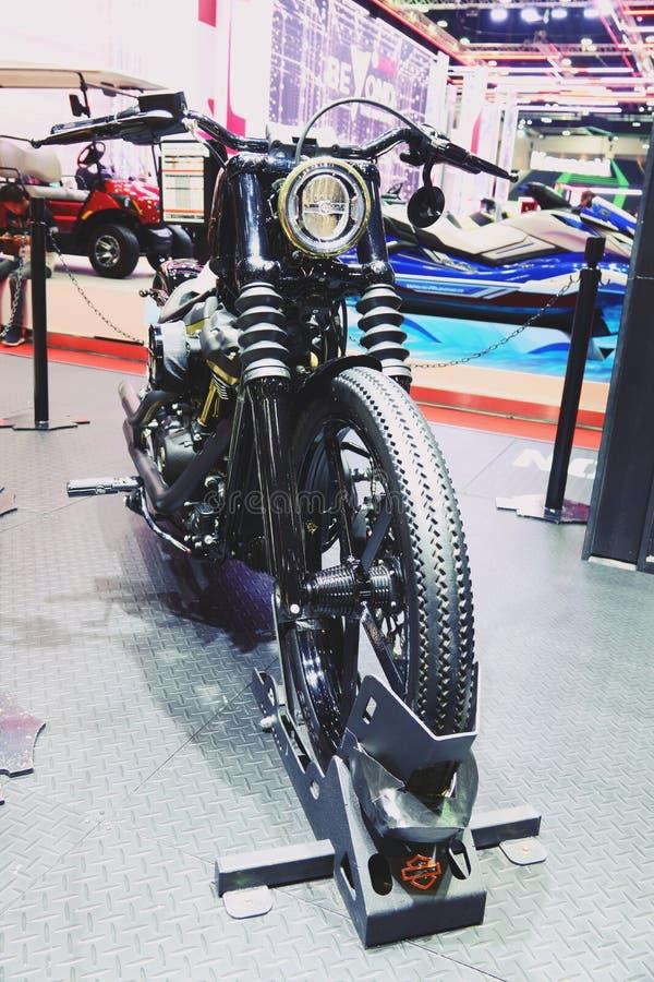 Μπανγκόκ, Ταϊλάνδη 30 Μαρτίου 2019: Το ποδήλατο μηχανών μια λεπτομέρεια-μοτοσικλέτα της Harley-Davidson παρουσιάστηκε στη διεθνή  στοκ εικόνα