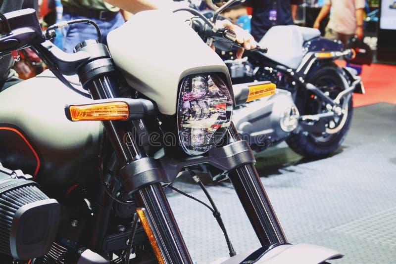 Μπανγκόκ, Ταϊλάνδη 30 Μαρτίου 2019: Το ποδήλατο μηχανών μια λεπτομέρεια-μοτοσικλέτα της Harley-Davidson παρουσιάστηκε στη διεθνή  στοκ εικόνες