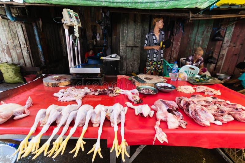 Μπανγκόκ, Ταϊλάνδη - το Μάρτιο του 2019: Στάβλοι χασάπηδων στην ανοικτή αγορά οδών σε Yangon, το Μιανμάρ στοκ φωτογραφίες με δικαίωμα ελεύθερης χρήσης