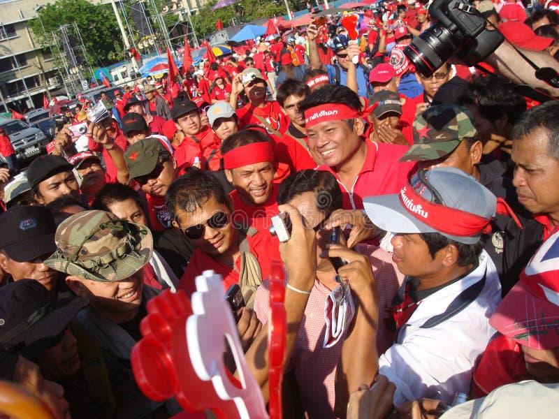 Μπανγκόκ Ταϊλάνδη - 03 14 2010 Maj GEN Khattiya Sawasdipol, γνωστό ευρέως δεδομένου ότι Daeng είναι παρούσα σε μια κόκκινη διαμαρ στοκ εικόνα