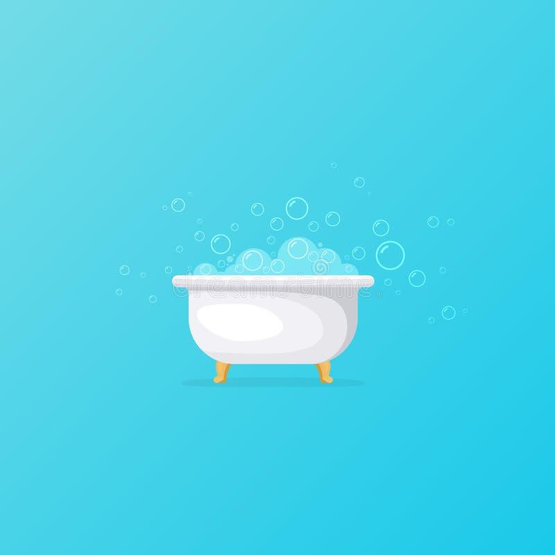 Μπανιέρα με τις φυσαλίδες σαπουνιών ελεύθερη απεικόνιση δικαιώματος
