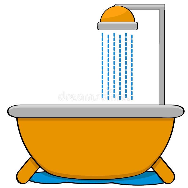 Μπανιέρα με το ντους διανυσματική απεικόνιση