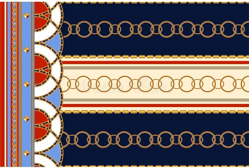 Μπαρόκ άνευ ραφής σχέδιο με τις αλυσίδες Διανυσματικό μπάλωμα για την τυπωμένη ύλη, ύφασμα, μαντίλι ελεύθερη απεικόνιση δικαιώματος