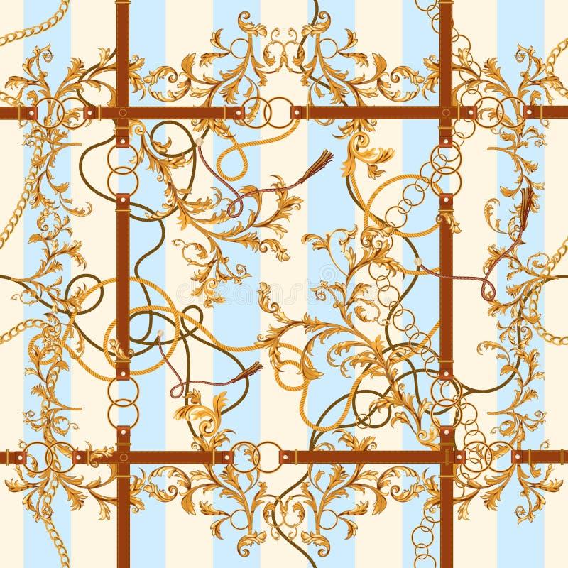 Μπαρόκ άνευ ραφής σχέδιο με τις χρυσές αλυσίδες, τα φύλλα και τις ζώνες Ριγωτό μπάλωμα για τα μαντίλι, τυπωμένη ύλη, ύφασμα διανυσματική απεικόνιση