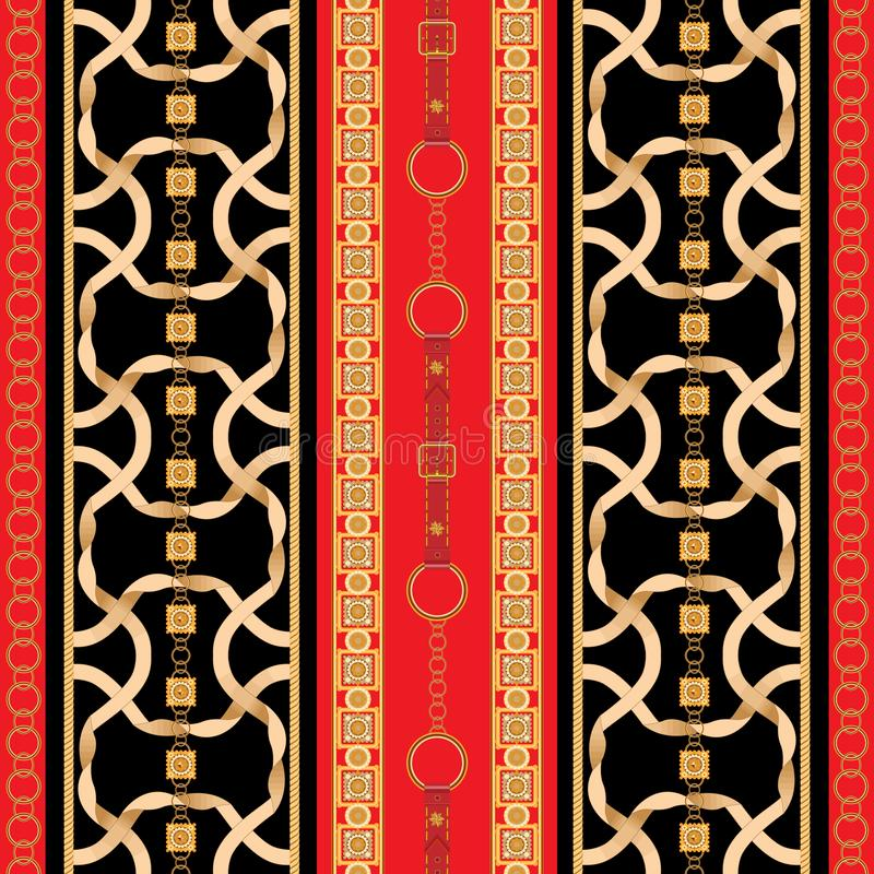 Μπαρόκ άνευ ραφής σχέδιο με τις χρυσές κορδέλλες και τις αλυσίδες Ριγωτό μπάλωμα για τα μαντίλι, τυπωμένη ύλη, ύφασμα διανυσματική απεικόνιση