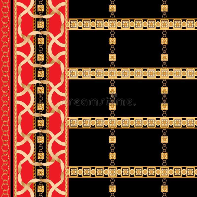 Μπαρόκ άνευ ραφής σχέδιο συνόρων με τις χρυσές κορδέλλες και τις αλυσίδες Ριγωτό μπάλωμα για τα μαντίλι, τυπωμένη ύλη, ύφασμα ελεύθερη απεικόνιση δικαιώματος