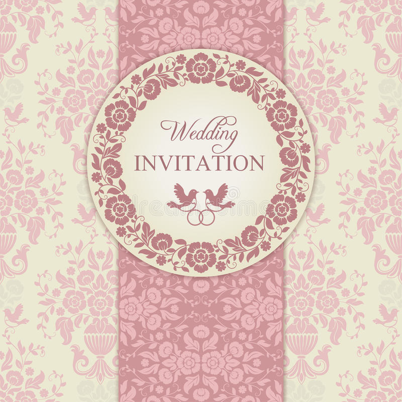 Μπαρόκ γαμήλια πρόσκληση, ροζ και μπεζ απεικόνιση αποθεμάτων