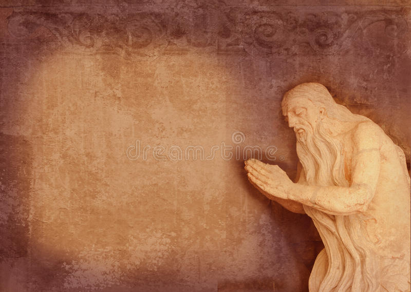 Μπαρόκ γλυπτό ιερού παλαιότερου, προσευχή σε μια σπηλιά Μπορέστε να χρησιμοποιηθείτε ως υπόβαθρο για το κείμενο της προσευχής Μορ στοκ φωτογραφίες