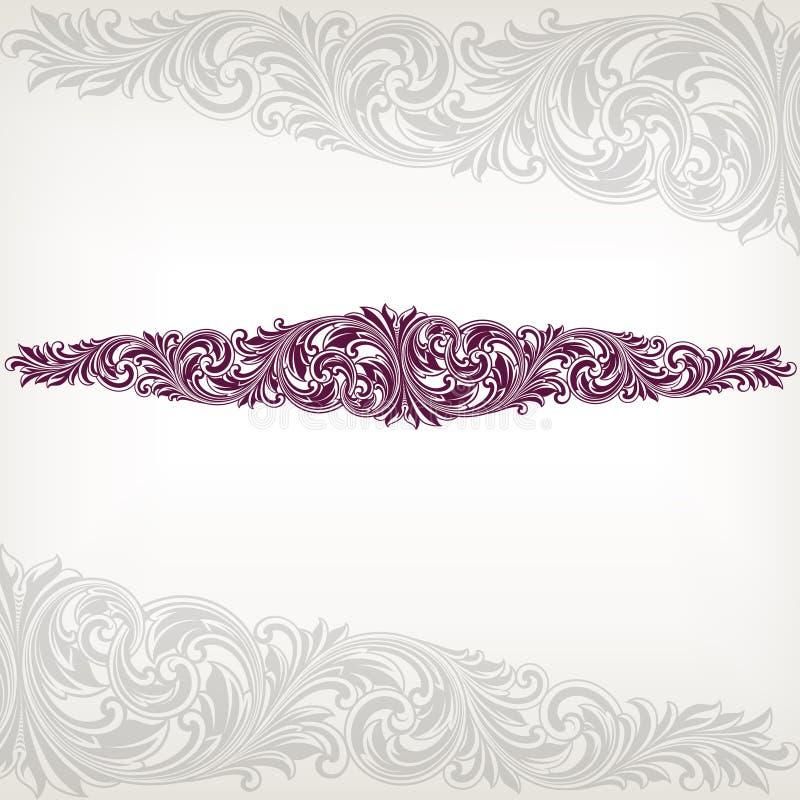 μπαρόκ διανυσματικός τρύγος πλαισίων συνόρων floral διανυσματική απεικόνιση