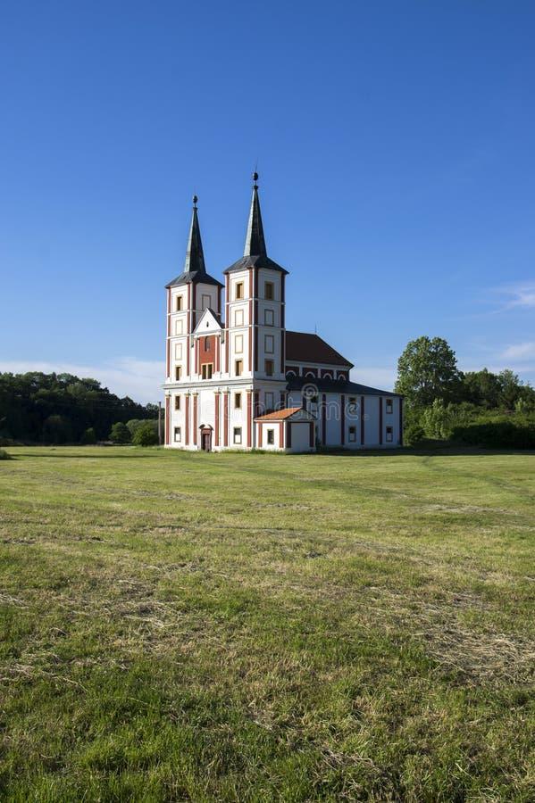 Μπαρόκ εκκλησία του ST Margaret, Chrast, χωριό Podlazice, Τσεχία, Ευρώπη στοκ φωτογραφίες με δικαίωμα ελεύθερης χρήσης