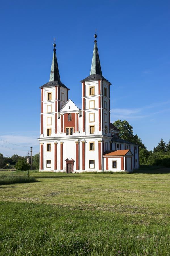 Μπαρόκ εκκλησία του ST Margaret, Chrast, χωριό Podlazice, Τσεχία, Ευρώπη στοκ εικόνα