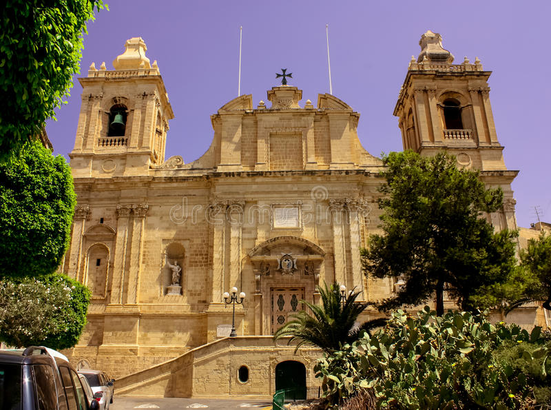 Μπαρόκ εκκλησία Valletta στοκ φωτογραφία