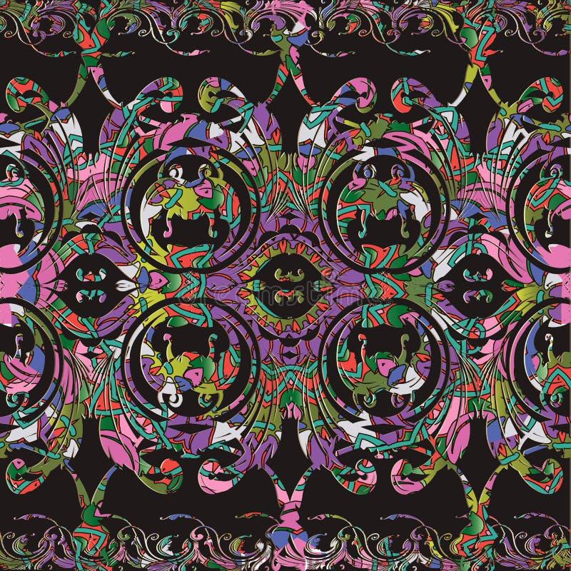 Μπαρόκ ζωηρόχρωμο floral άνευ ραφής σχέδιο συνόρων Διακοσμητικό παλαιό διανυσματικό υπόβαθρο Ο τρύγος ακμάζει την μπαρόκ damask δ απεικόνιση αποθεμάτων