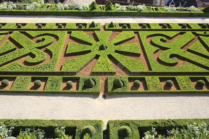 Μπαρόκ κήπος, Castle Hautefort στη Γαλλία στοκ φωτογραφία με δικαίωμα ελεύθερης χρήσης