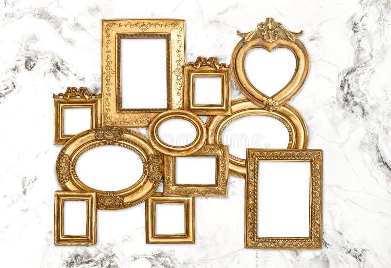 Μπαρόκ μαρμάρινο υπόβαθρο πλαισίου πλαισίων χρυσό στοκ εικόνα με δικαίωμα ελεύθερης χρήσης