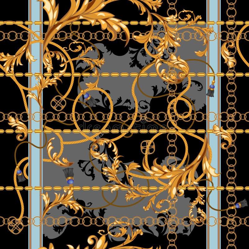 Μπαρόκ μπάλωμα με τις χρυσούς αλυσίδες και το στόκο Άνευ ραφής σχέδιο για τα μαντίλι, τυπωμένη ύλη, ύφασμα ελεύθερη απεικόνιση δικαιώματος