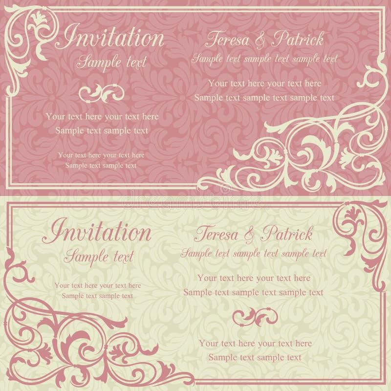Μπαρόκ πρόσκληση, ροζ και μπεζ διανυσματική απεικόνιση