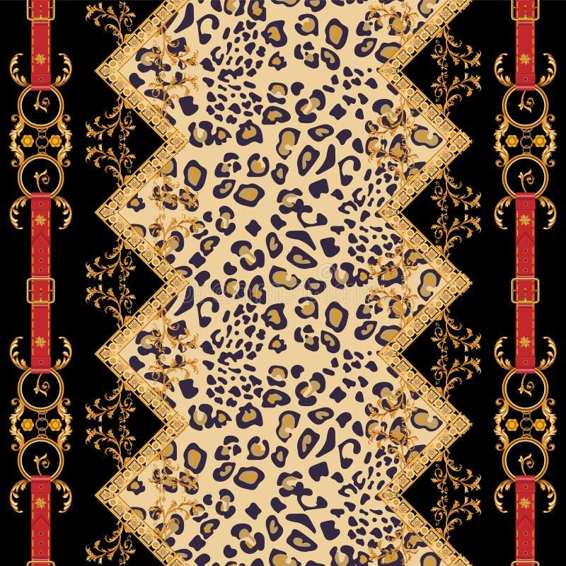 Μπαρόκ ριγωτό σχέδιο με τις χρυσές αλυσίδες και τις ζώνες Άνευ ραφής μ απεικόνιση αποθεμάτων