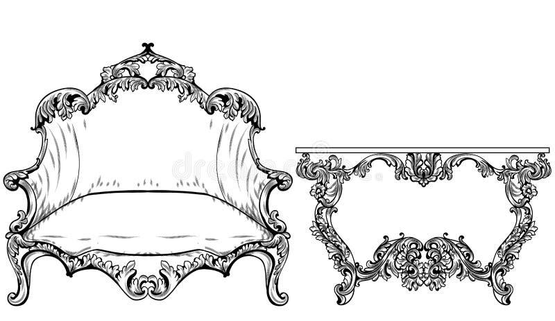 Μπαρόκ στυλ ροκοκό διάνυσμα επίπλων Πλούσιος αυτοκρατορικός αυξήθηκε διακοσμήσεις Βασιλικά βικτοριανά ντεκόρ απεικόνιση αποθεμάτων