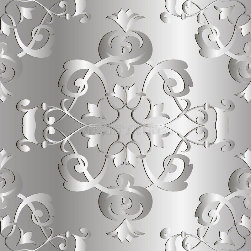 Μπαρόκ τρισδιάστατο άνευ ραφής σχέδιο Διανυσματικό διακοσμητικό ασημένιο υπόβαθρο Επαναλάβετε το διαμορφωμένο floral λαμπρό σκηνι ελεύθερη απεικόνιση δικαιώματος
