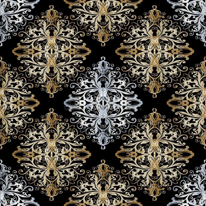 Μπαρόκ χρυσό ασημένιο άνευ ραφής σχέδιο ανασκόπησης ξηρός floral βρώμικος λεκιασμένος φυτό τρύγος εγγράφου φύλλων παλαιός ελεύθερη απεικόνιση δικαιώματος