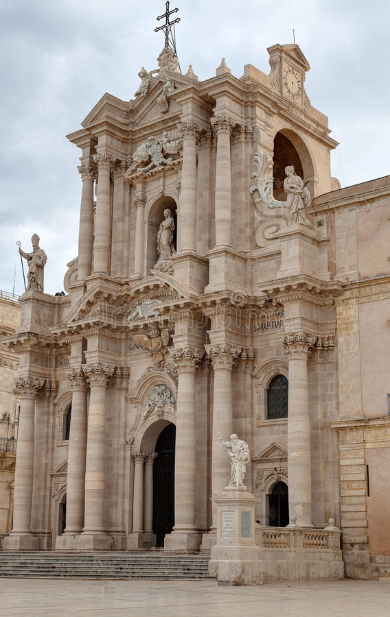 Μπαρόκ Duomo, Συρακούσες, Σικελία, Ιταλία στοκ εικόνες