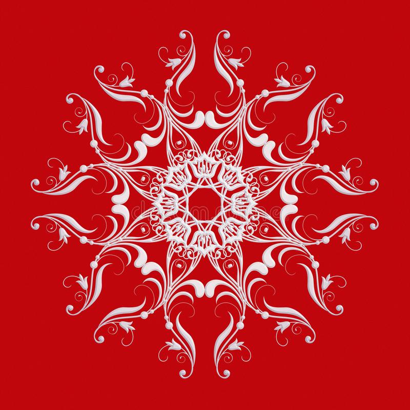 Μπαρόκ mandala ύφους η φαντασία διακοσμήσεων Χριστουγέννων ακτινοβολεί μοτίβο σταφυλιών ελεύθερη απεικόνιση δικαιώματος