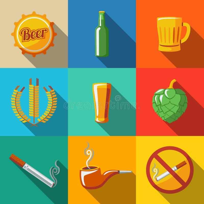 Μπαρ, επίπεδα μακροχρόνια εικονίδια σκιών μπύρας που τίθενται με - γυαλί διανυσματική απεικόνιση