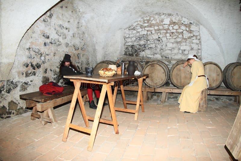 Μπαρ με τα βαρέλια του κρασιού στοκ φωτογραφία