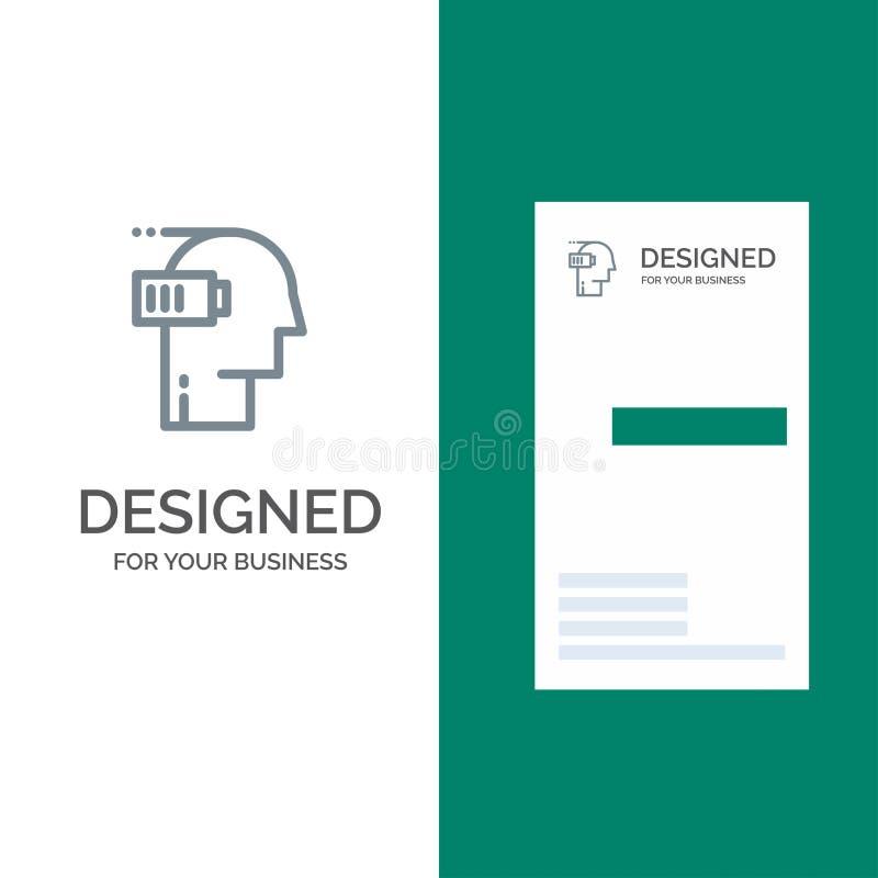 Μπαταρία, εξαγωγή, χαμηλό, διανοητικό, σχέδιο λογότυπων μυαλού γκρίζο και πρότυπο επαγγελματικών καρτών διανυσματική απεικόνιση