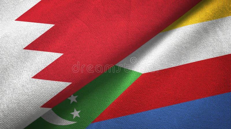 Μπαχρέιν και Κομόρες δύο υφαντικό ύφασμα σημαιών, σύσταση υφάσματος ελεύθερη απεικόνιση δικαιώματος