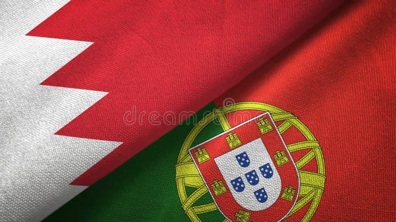 Μπαχρέιν και Πορτογαλία δύο υφαντικό ύφασμα σημαιών, σύσταση υφάσματος διανυσματική απεικόνιση