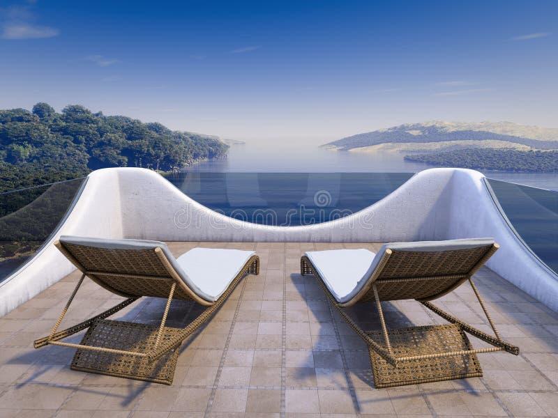 Μπαλκόνι με απόψεις θάλασσας και δύο καρέκλες στοκ εικόνα